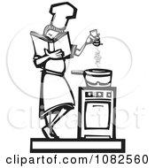 Black And White Woodcut Styled Baker Girl Seasoning Food