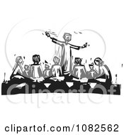 Clipart Black And White Woodcut Styled Teacher Gesturing Around A Group Of Students Royalty Free Vector Illustration by xunantunich
