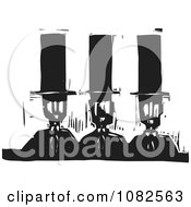 Clipart Black And White Woodcut Styled Men In Top Hats Royalty Free Vector Illustration by xunantunich