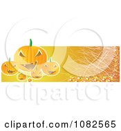 Clipart Scratched Orange Halloween Jackolantern Banner Royalty Free Vector Illustration