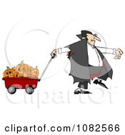 Clipart Vampire Pulling Halloween Pumpkins An A Wagon Royalty Free Illustration