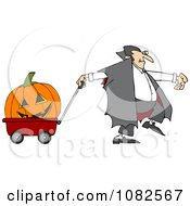 Clipart Vampire Pulling A Large Halloween Pumpkin An A Wagon Royalty Free Vector Illustration