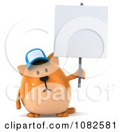 Clipart 3d Chubby Orange Cat Wearing A Hat And Holding A Sign Royalty Free CGI Illustration