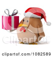 Clipart 3d Chubby Christmas Chicken With A Gift 2 Royalty Free CGI Illustration