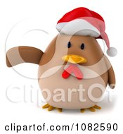 Clipart 3d Presenting Chubby Christmas Chicken Royalty Free CGI Illustration