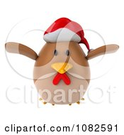 Clipart 3d Chubby Christmas Chicken Flying 1 Royalty Free CGI Illustration