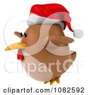Clipart 3d Chubby Christmas Chicken Flying 2 Royalty Free CGI Illustration