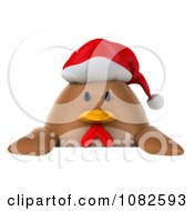 Clipart 3d Chubby Christmas Chicken With A Sign 1 Royalty Free CGI Illustration