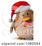 Clipart 3d Chubby Christmas Chicken With A Sign 2 Royalty Free CGI Illustration