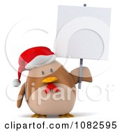 Clipart 3d Chubby Christmas Chicken With A Sign 3 Royalty Free CGI Illustration