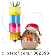 Clipart 3d Chubby Christmas Chicken With A Stack Of Gifts Royalty Free CGI Illustration