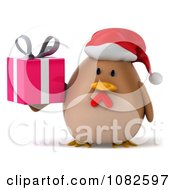 Clipart 3d Chubby Christmas Chicken With A Gift 1 Royalty Free CGI Illustration