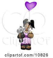 Cute Little Girl Holding A Purple Balloon And Teddy Bear