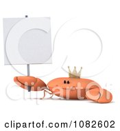 3d King Crab With A Sign 3