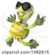 Clipart 3d Chuck Tortoise Wearing Sunglasses And Jumping 1 Royalty Free CGI Illustration