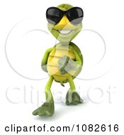 Clipart 3d Chuck Tortoise Wearing Sunglasses And Walking 1 Royalty Free CGI Illustration
