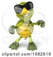 Clipart 3d Chuck Tortoise Wearing Sunglasses And Dancing 2 Royalty Free CGI Illustration