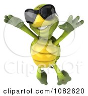 Clipart 3d Chuck Tortoise Wearing Sunglasses And Jumping 2 Royalty Free CGI Illustration