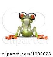 Clipart 3d Sitting Springer Frog Wearing Reading Glasses Royalty Free CGI Illustration
