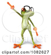 Clipart 3d Dancing Springer Frog Wearing Reading Glasses 1 Royalty Free CGI Illustration