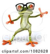 Clipart 3d Dancing Springer Frog Wearing Reading Glasses 2 Royalty Free CGI Illustration