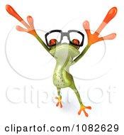 Clipart 3d Dancing Springer Frog Wearing Reading Glasses 3 Royalty Free CGI Illustration