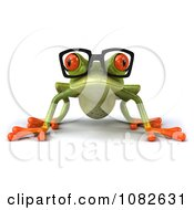 Clipart 3d Crouching Springer Frog Wearing Reading Glasses Royalty Free CGI Illustration