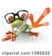 Clipart 3d Reaching Springer Frog Wearing Reading Glasses Royalty Free CGI Illustration