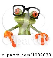 Clipart 3d Springer Frog Wearing Reading Glasses And Holding A Sign 1 Royalty Free CGI Illustration