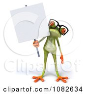 Clipart 3d Springer Frog Wearing Reading Glasses And Holding A Sign 2 Royalty Free CGI Illustration