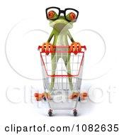 Clipart 3d Shopping Springer Frog Wearing Reading Glasses Royalty Free CGI Illustration