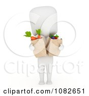 Clipart 3d Ivory Man Carrying Grocery Bags Of Veggies Royalty Free CGI Illustration