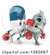 Clipart 3d Pill Character Knocking Out A Virus Royalty Free CGI Illustration