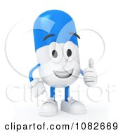 Clipart 3d Pill Character Holding A Thumb Up Royalty Free CGI Illustration by BNP Design Studio