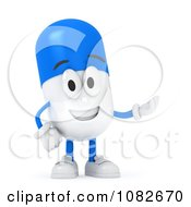 Clipart 3d Pill Character Presenting Royalty Free CGI Illustration by BNP Design Studio