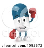 3d Pill Character Wearing Boxing Gloves