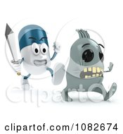 Clipart 3d Pill Character Chasing A Virus With A Sword Royalty Free CGI Illustration