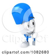 3d Pill Character With A Blank Sign