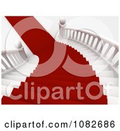 3d Red Carpet Leading Down A Grand Staircase