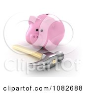 Clipart 3d Hammer And Fat Piggy Bank Royalty Free CGI Illustration