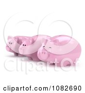 Clipart 3d Happy Fat And Sad Skinny Piggy Banks Royalty Free CGI Illustration