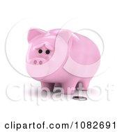 Clipart 3d Sad Skinny Piggy Bank Royalty Free CGI Illustration