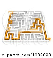 3d Orange Arrow Leading Though A Maze