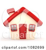 3d House With A Red Roof Door And Windows