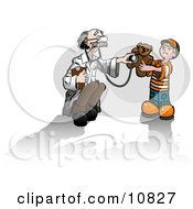 Old Male Doctor Humoring A Cute Little Boy While Holding A Stethoscope Up To A Teddy Bear
