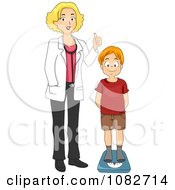 Clipart Pediatric Doctor Measuring A Boys Weight Royalty Free Vector Illustration
