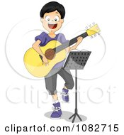Clipart Boy Playing A Guitar In Front Of A Music Stand Royalty Free Vector Illustration by BNP Design Studio