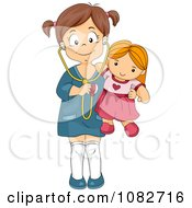 Clipart Girl Holding A Stethoscope To Her Doll Royalty Free Vector Illustration