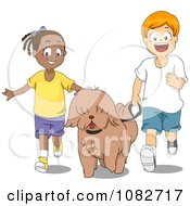 Clipart Black Girl And White Boy Walking A Dog Royalty Free Vector Illustration