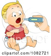 Clipart Hand Taking A Baby Boys Temperature Royalty Free Vector Illustration